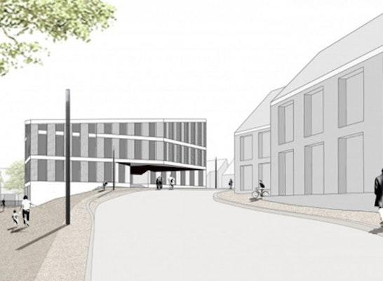 Blick von Osten auf das neue Rathaus