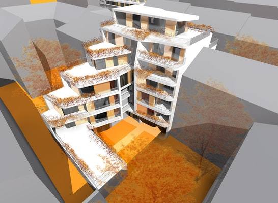 Ansicht hofseitig - 1160 Wien, Fröbelgasse 6, PRASCHL-GOODARZI Architekten ZT-GmbH, ULREICH Bauträger GmbH