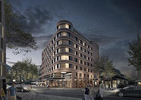 """1. Preis: Das Bauwerk fungiert mit seiner erhöhten Eckbetonung als """"point de vue"""", © pbr Planungsbüro Rohling AG / Visulisierung: silisight"""