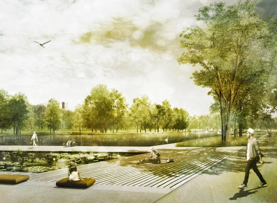 Aueweiher mit Seeuferplatz und Wassergarten