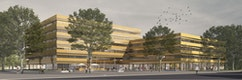Wettbewerb Neues Verwaltungszentrum Freiburg, dritter Preis, Visualisierung Link3D Freiburg