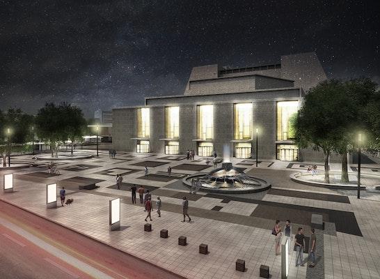 Gewinner: Nachtansicht Großer Offenbachplatz, © UKW Innenarchitekten