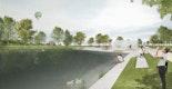 Am Seeplatz entsteht mit der neuen Gastronomie und den Holzdecks zum Wasser eine neue Mitte für den Wiehlpark