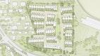 Blick über die Gemeinschaftsfläche: Das Quartier wird durch einen gemeinschaftlichen, zentralen Platz geprägt