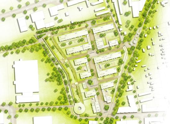 1. Preis: Lageplan, © pbs architekten Gerlach Wolf Böhning mit RMP Stephan Lenzen Landschaftsarchitekten
