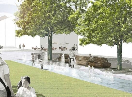 Perspektive Wasserlauf oestlicher Platzteil