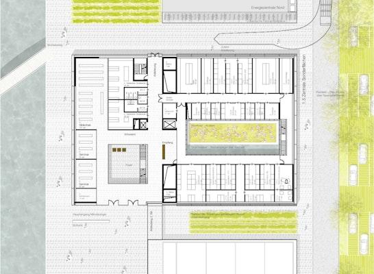 1. Preis Zuschlag Realisierungsteil Neubau der Mikrobiologie: Erdgeschoss, © bizer architekten / koeber landschaftsarchitektur