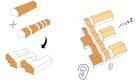 Piktogramme : Neuanordnung eines Riegelbaus zugunsten des städtbaulichen und  menschlichen Maßstabs und Gliederung des Gebäudes in Ruhezonen