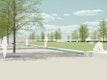 Ost-Promenade mit Kunst, Linden und Wasserband