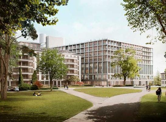 Sieger: Blick vom Park auf das neue USZ-Gebäude, Visualisierung: Ponnie Images