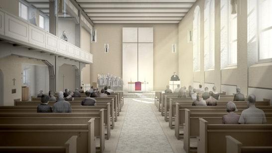 Blick auf den Altar bei Tag