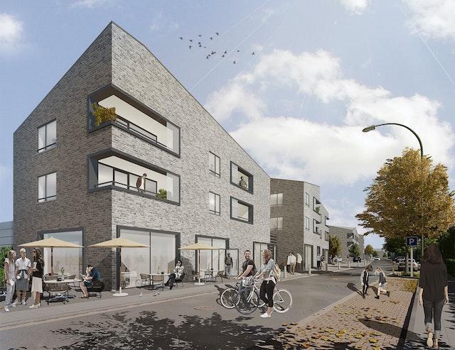 Neubau eines Fachmarktzentrums mit ergänzender Wohnnutzung an der Kolpingstraße in Rheda