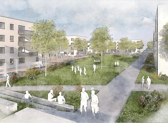 1. Preis Gleisdreieck Radolfzell, Städtebaulicher Wettbewerb / Mehrfachbeauftragung, Visualisierung LINK3D Freiburg