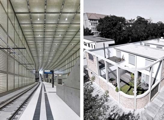 Architekturpreis der Stadt Leipzig 2013: Ausgezeichnete Projekte: links: S-Bahnhof Wilhelm-Leuschner-Platz, Leipzig rechts: Gartenhofhäuser Audorfstraße, Leipzig