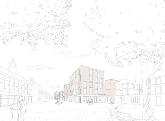 1. Rang: Perspektive Schmidt-Platz, © harris + kurrle architekten bda Partnerschaft mbB / Koeber Landschaftsarchitektur GmbH