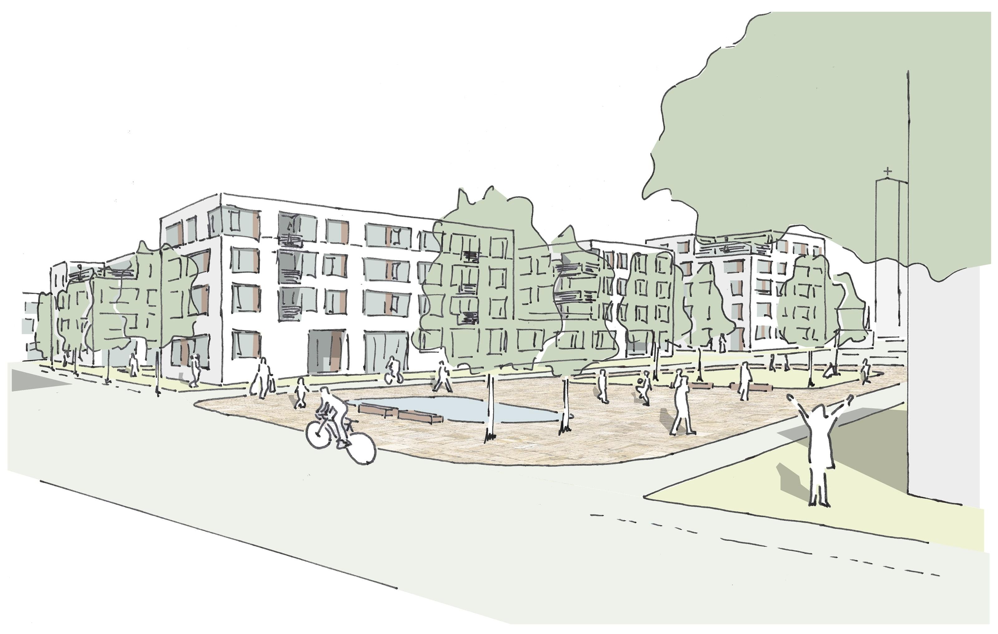 Erster Preis: Entwurf für die Quartiersmitte von K9 Architekten mit faktorgruen Landschaftsplaner.